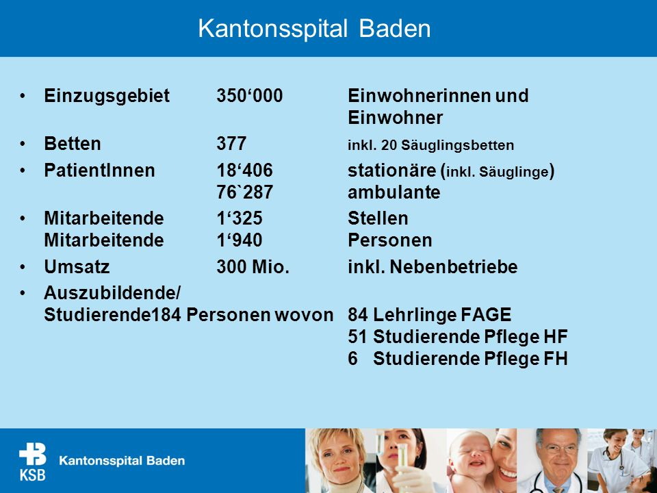 Kantonsspital Baden Einzugsgebiet 350'000 Einwohnerinnen und Einwohner