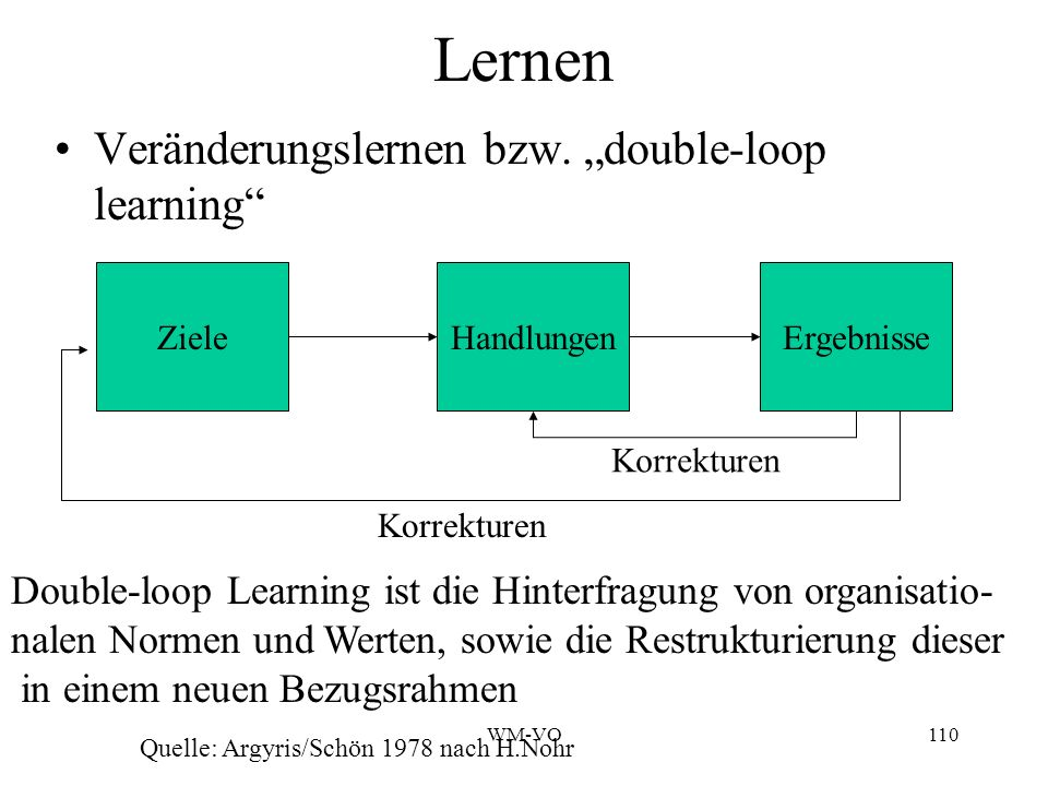 "Lernen Veränderungslernen bzw. ""double-loop learning"