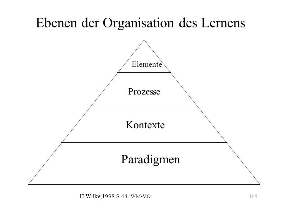 Ebenen der Organisation des Lernens
