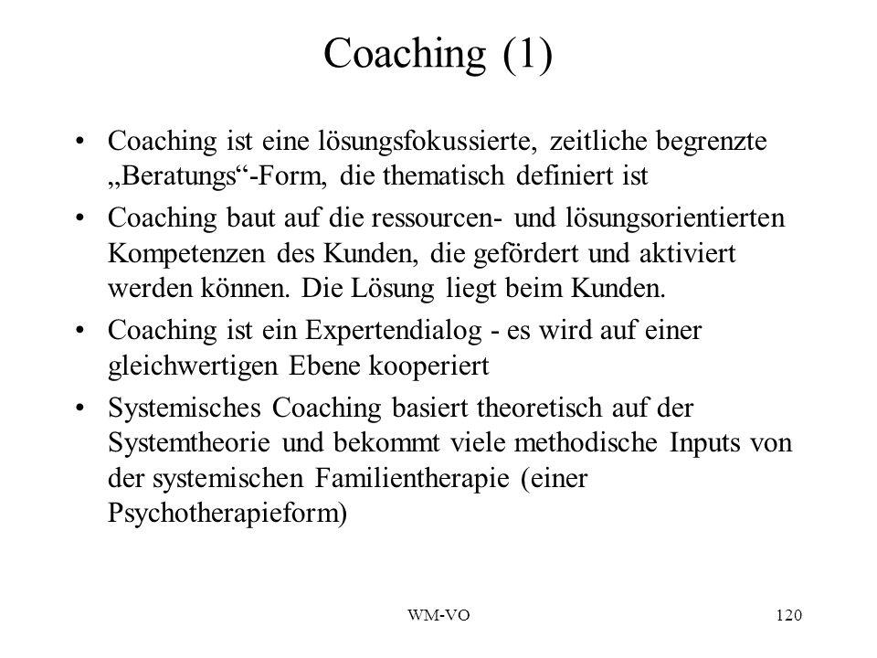 """Coaching (1) Coaching ist eine lösungsfokussierte, zeitliche begrenzte """"Beratungs -Form, die thematisch definiert ist."""
