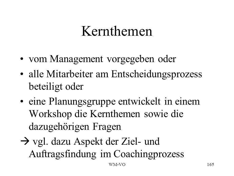 Kernthemen vom Management vorgegeben oder