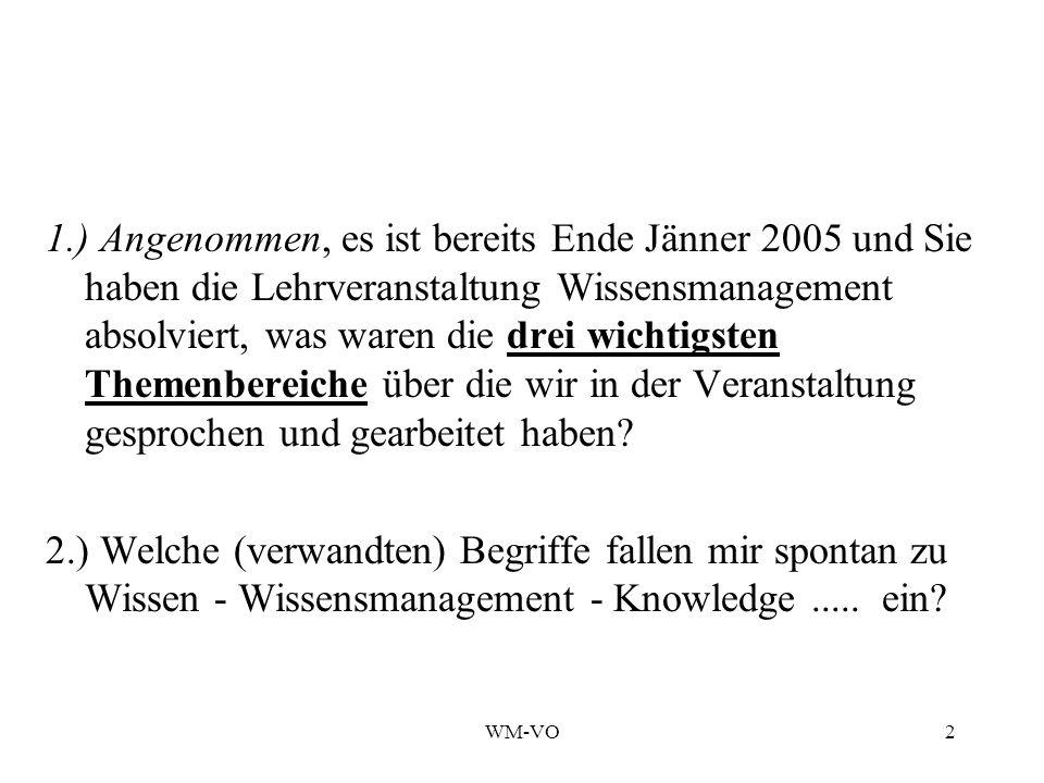 1.) Angenommen, es ist bereits Ende Jänner 2005 und Sie haben die Lehrveranstaltung Wissensmanagement absolviert, was waren die drei wichtigsten Themenbereiche über die wir in der Veranstaltung gesprochen und gearbeitet haben