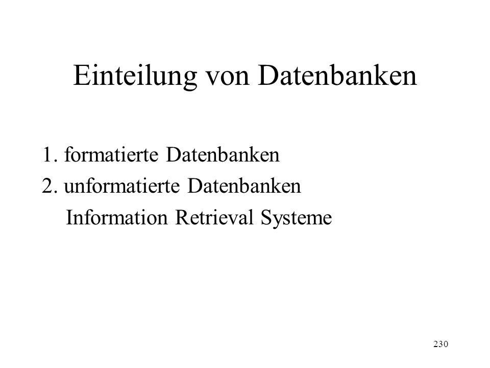 Einteilung von Datenbanken
