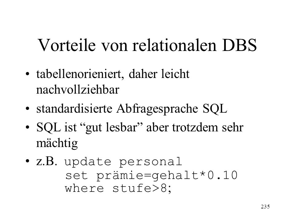 Vorteile von relationalen DBS