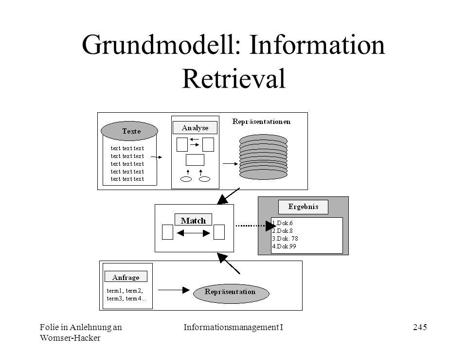 Grundmodell: Information Retrieval