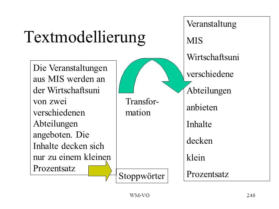 Textmodellierung Veranstaltung MIS Wirtschaftsuni verschiedene