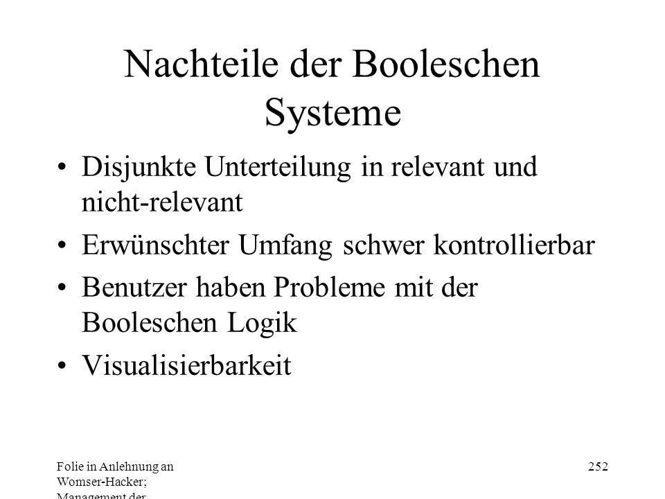 Nachteile der Booleschen Systeme