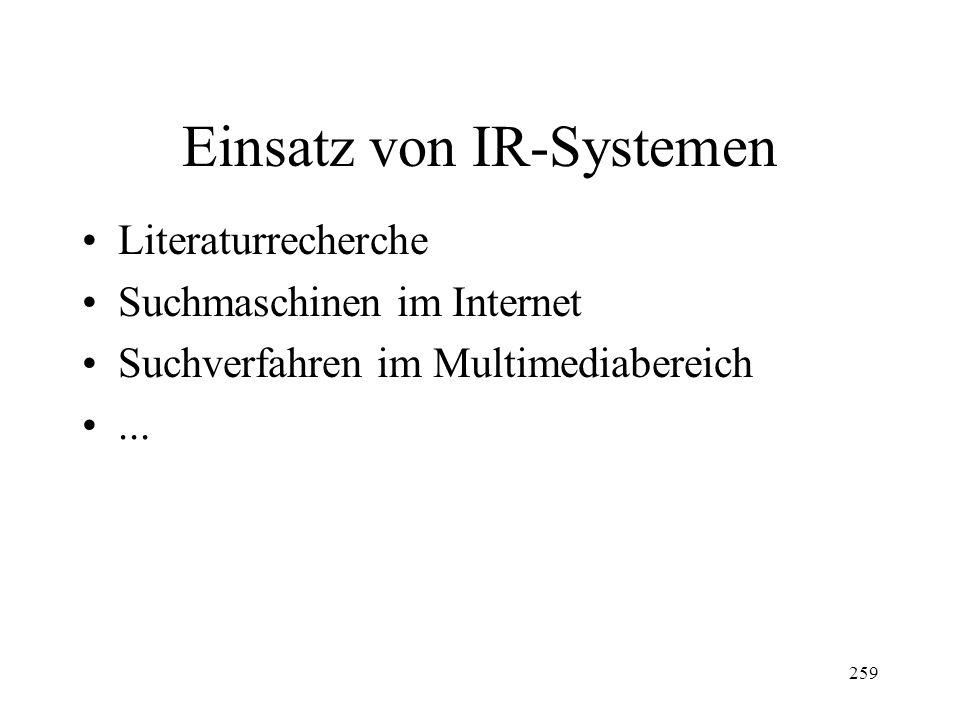 Einsatz von IR-Systemen