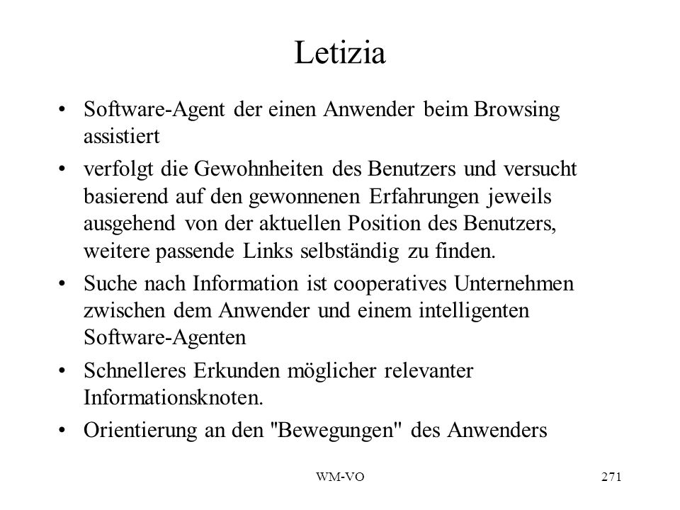 Letizia Software-Agent der einen Anwender beim Browsing assistiert