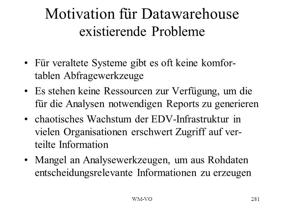 Motivation für Datawarehouse existierende Probleme