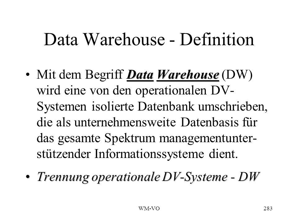 Data Warehouse - Definition