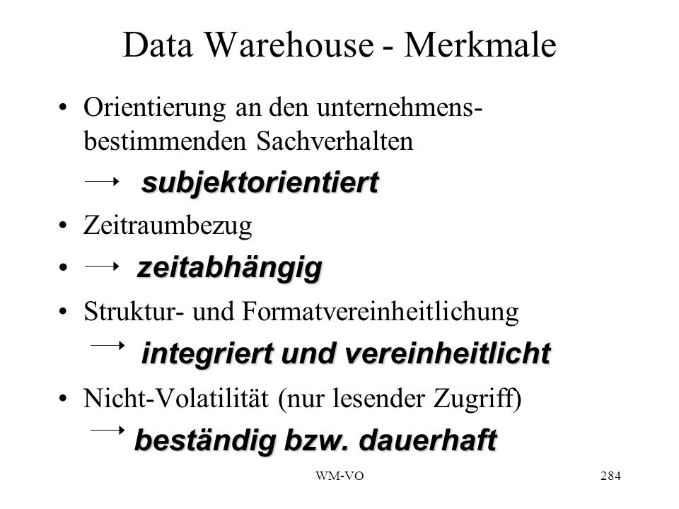 Data Warehouse - Merkmale