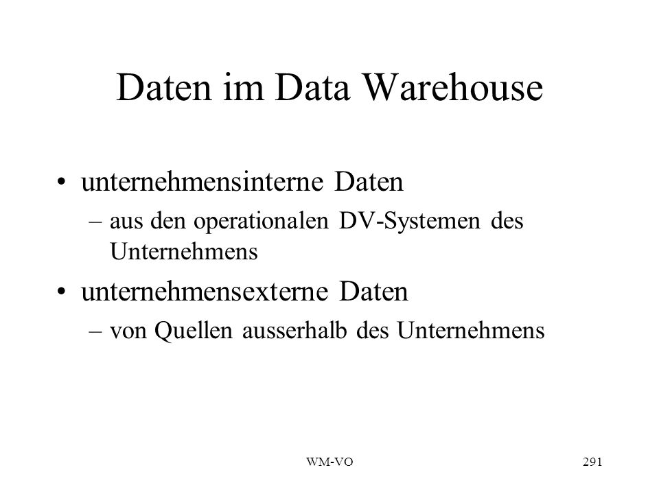 Daten im Data Warehouse