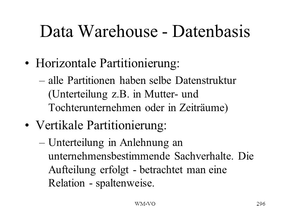 Data Warehouse - Datenbasis