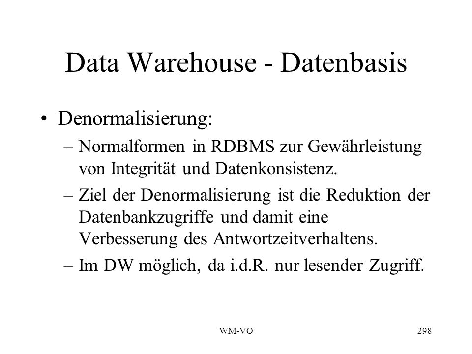 Data Warehouse - Datenbasis