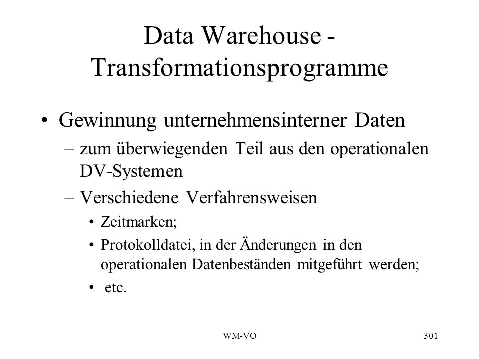 Data Warehouse - Transformationsprogramme
