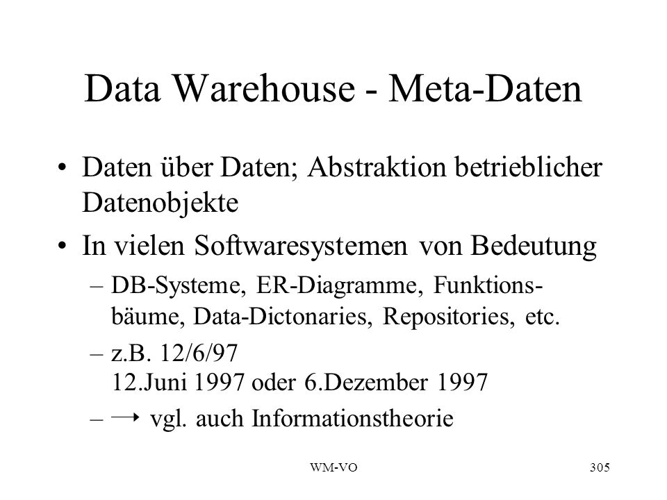 Data Warehouse - Meta-Daten