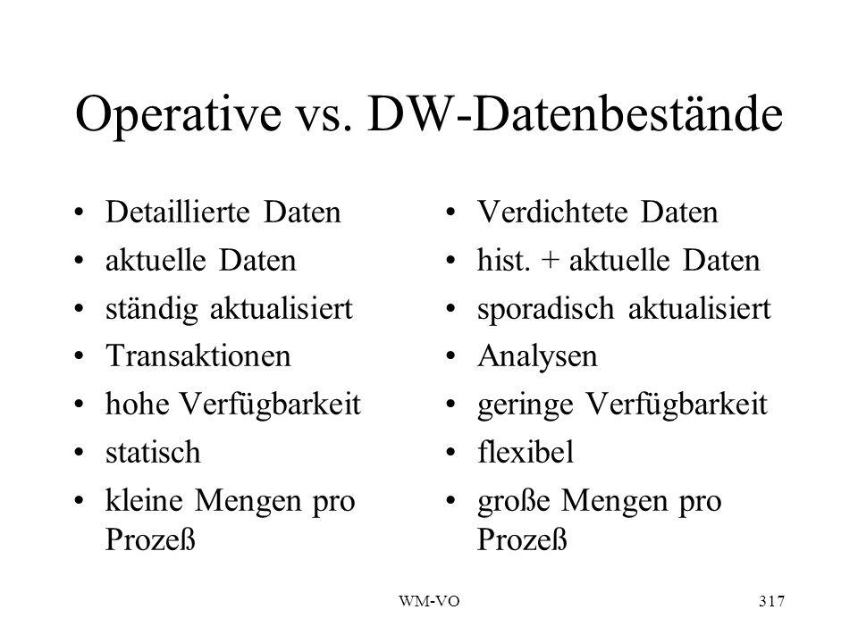 Operative vs. DW-Datenbestände