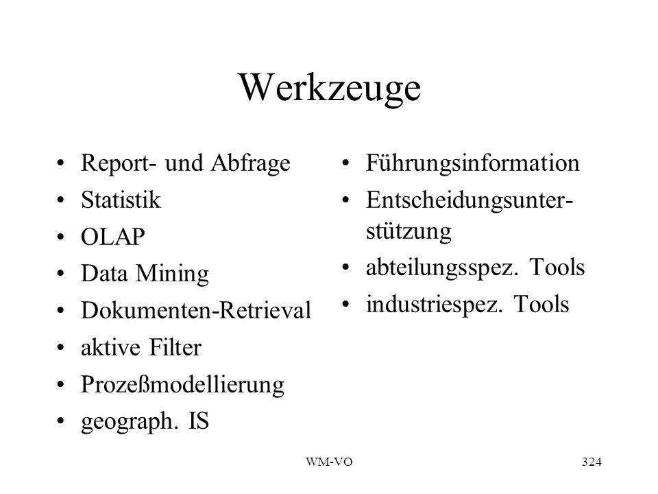 Werkzeuge Report- und Abfrage Statistik OLAP Data Mining
