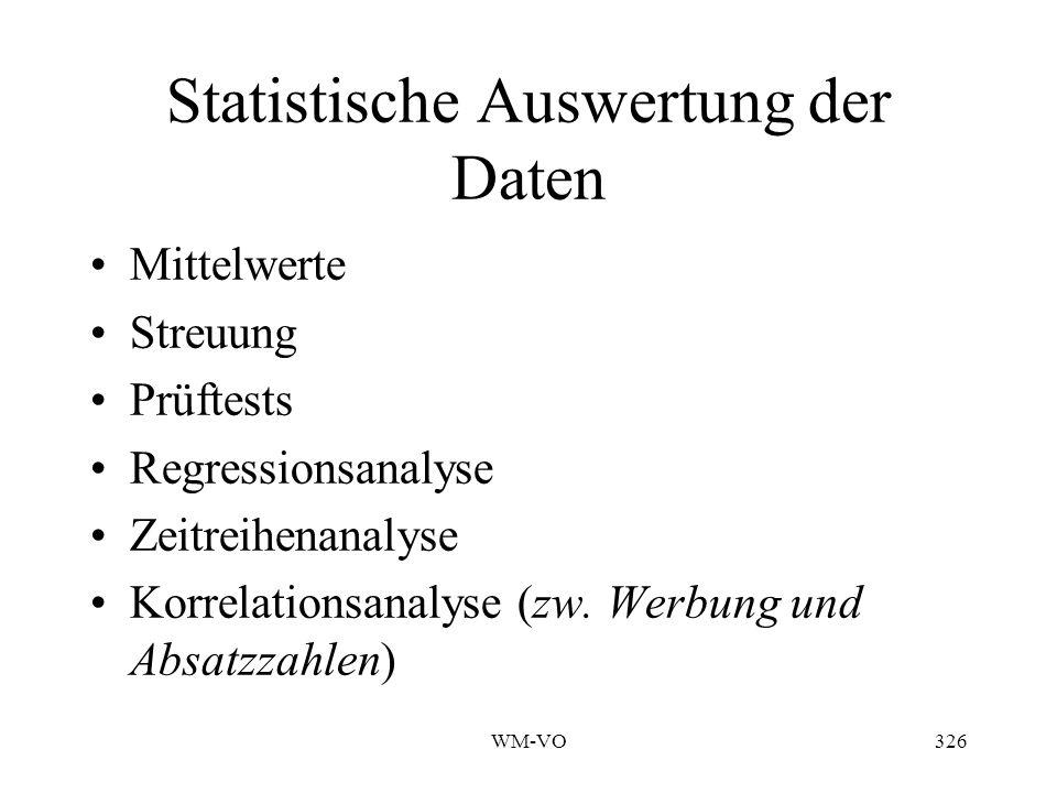 Statistische Auswertung der Daten