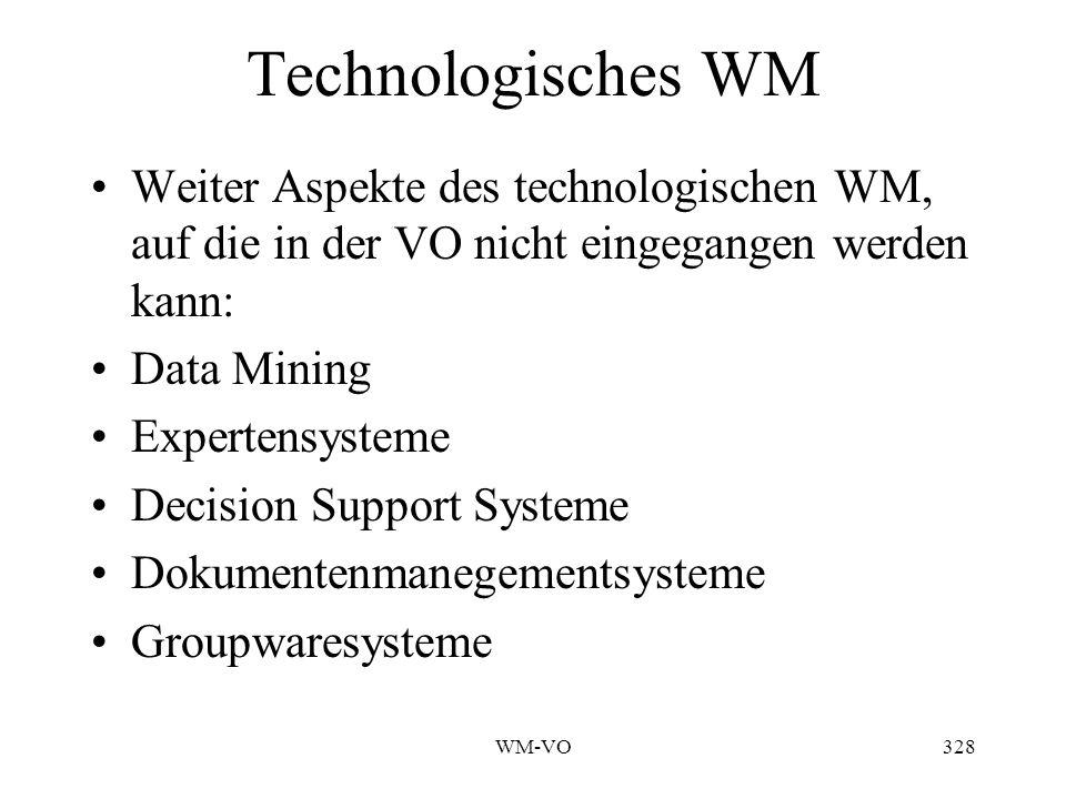 Technologisches WM Weiter Aspekte des technologischen WM, auf die in der VO nicht eingegangen werden kann: