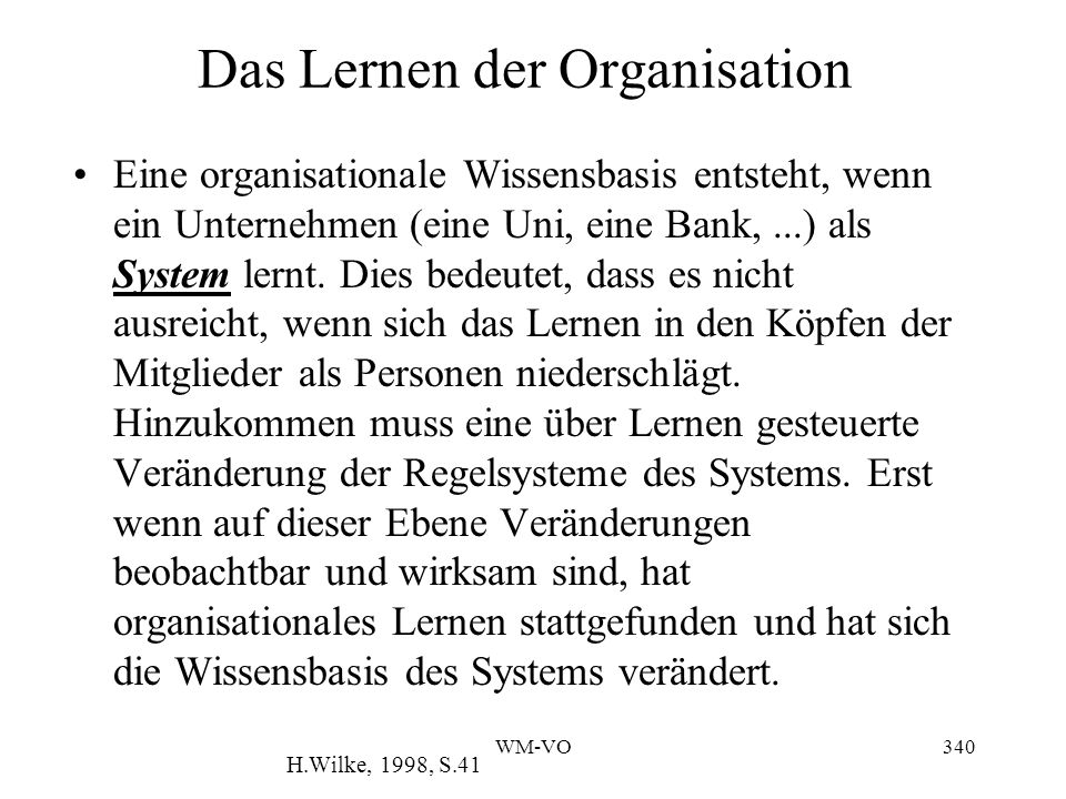 Das Lernen der Organisation