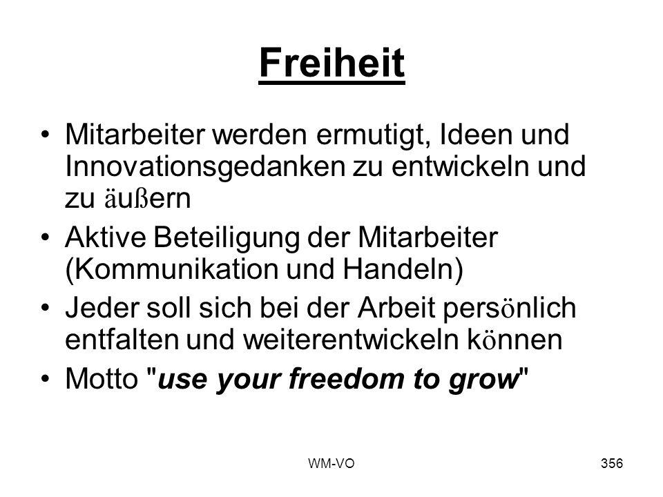 Freiheit Mitarbeiter werden ermutigt, Ideen und Innovationsgedanken zu entwickeln und zu äußern.