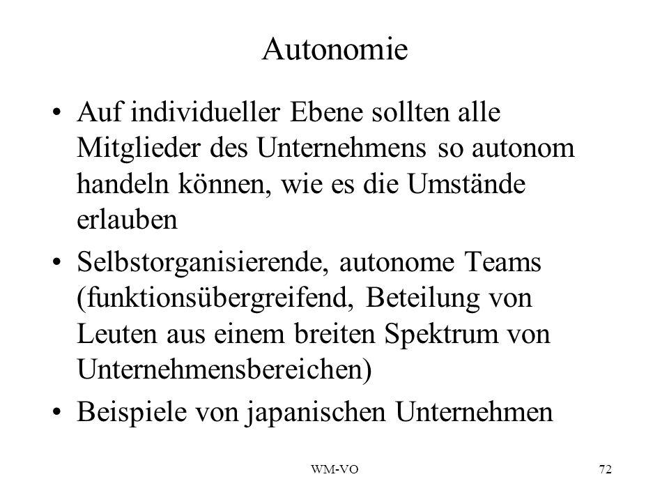 Autonomie Auf individueller Ebene sollten alle Mitglieder des Unternehmens so autonom handeln können, wie es die Umstände erlauben.