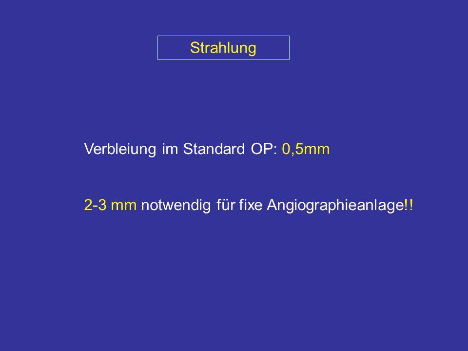 Strahlung Verbleiung im Standard OP: 0,5mm 2-3 mm notwendig für fixe Angiographieanlage!!