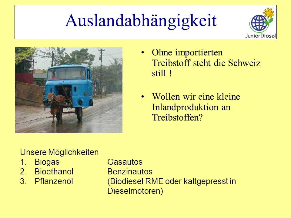 Auslandabhängigkeit Ohne importierten Treibstoff steht die Schweiz still ! Wollen wir eine kleine Inlandproduktion an Treibstoffen