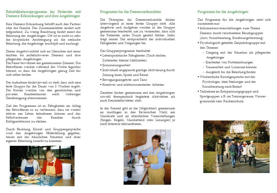 Programm für die Demenzerkrankten Programm für die Angehörigen