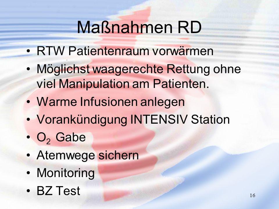 Maßnahmen RD RTW Patientenraum vorwärmen