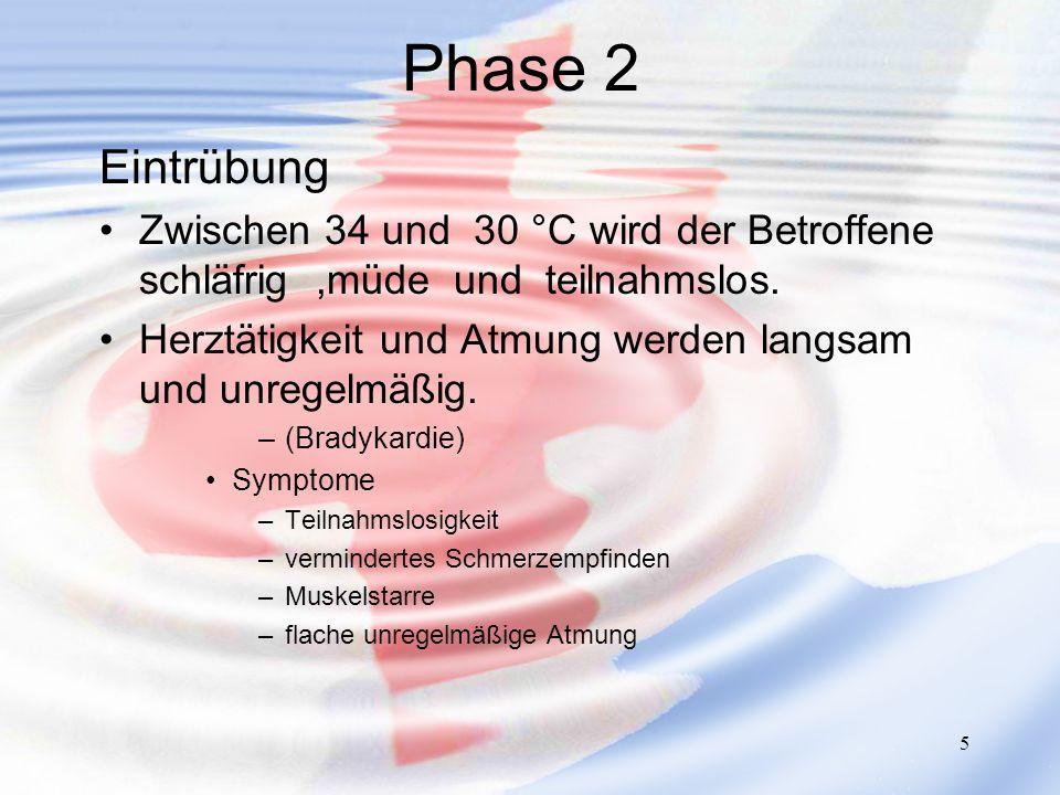 Phase 2 Eintrübung. Zwischen 34 und 30 °C wird der Betroffene schläfrig ,müde und teilnahmslos.