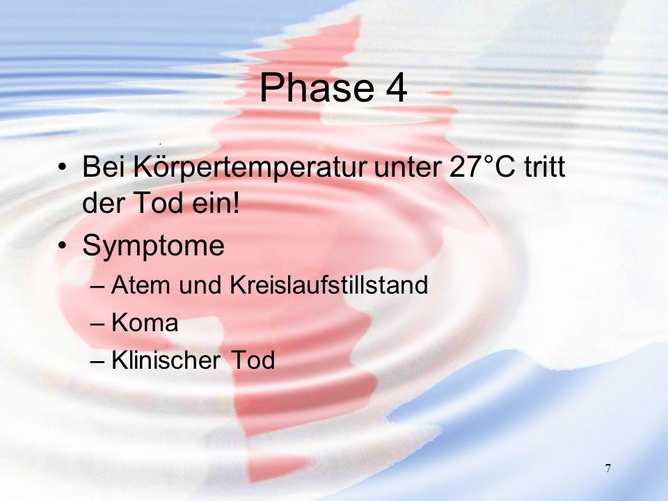 Phase 4 Bei Körpertemperatur unter 27°C tritt der Tod ein! Symptome