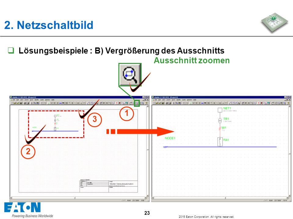 2. Netzschaltbild Lösungsbeispiele : B) Vergrößerung des Ausschnitts Ausschnitt zoomen. 1. 3.
