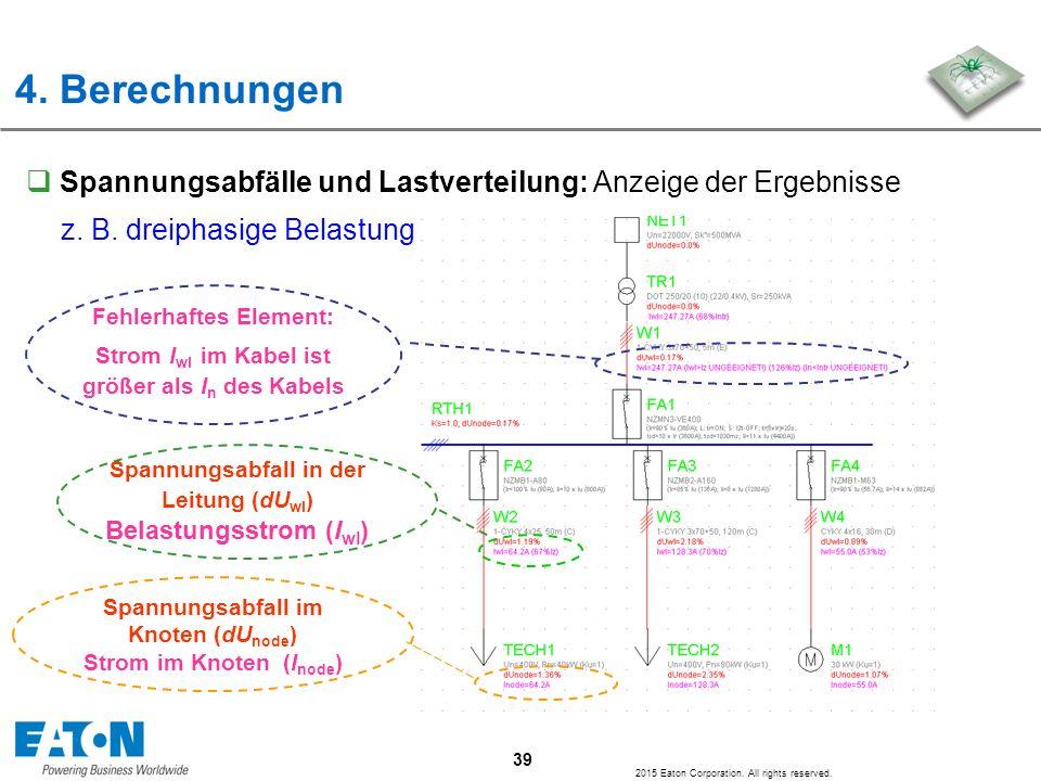 4. Berechnungen Spannungsabfälle und Lastverteilung: Anzeige der Ergebnisse. z. B. dreiphasige Belastung.