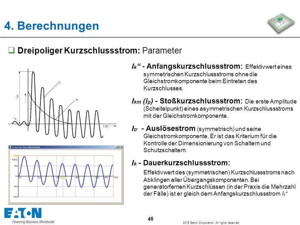 4. Berechnungen Dreipoliger Kurzschlussstrom: Parameter