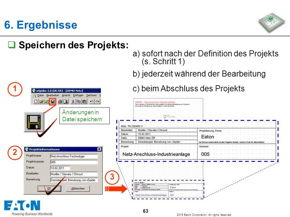 6. Ergebnisse Speichern des Projekts: a) sofort nach der Definition des Projekts (s. Schritt 1)