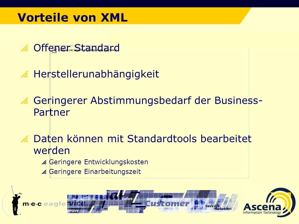 Vorteile von XML Der ideale Lösungsansatz Offener Standard