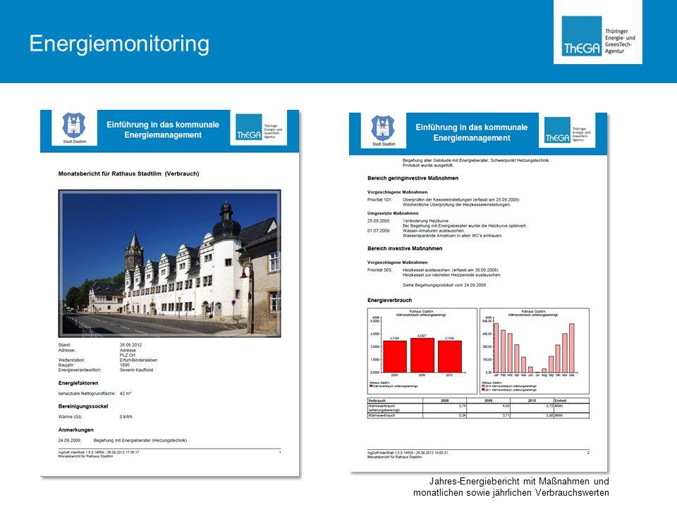 Energiemonitoring Jahres-Energiebericht mit Maßnahmen und