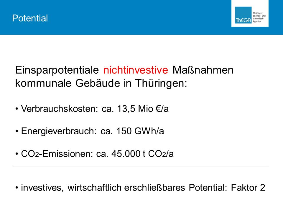 Potential Einsparpotentiale nichtinvestive Maßnahmen kommunale Gebäude in Thüringen: Verbrauchskosten: ca. 13,5 Mio €/a.