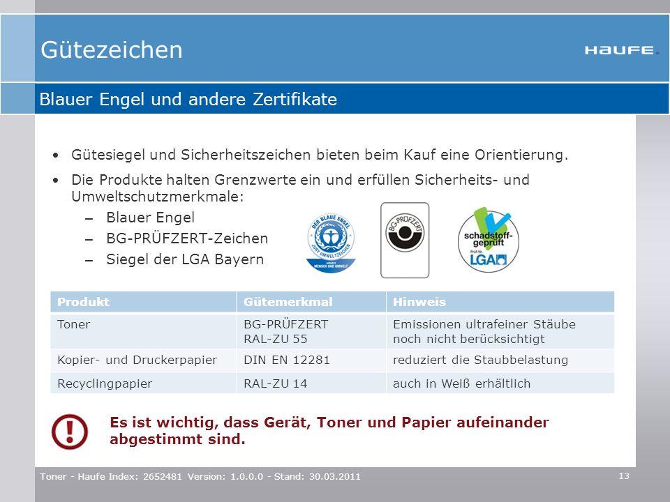 Gütezeichen Blauer Engel und andere Zertifikate