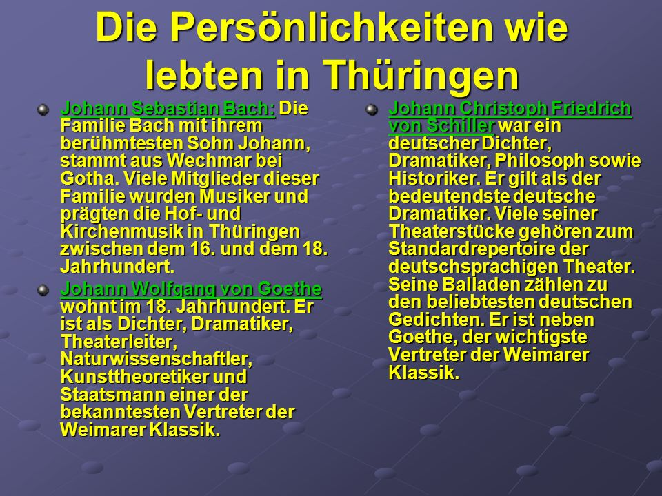 Die Persönlichkeiten wie lebten in Thüringen