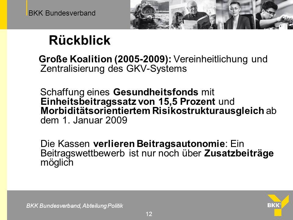 Rückblick Große Koalition (2005-2009): Vereinheitlichung und Zentralisierung des GKV-Systems.
