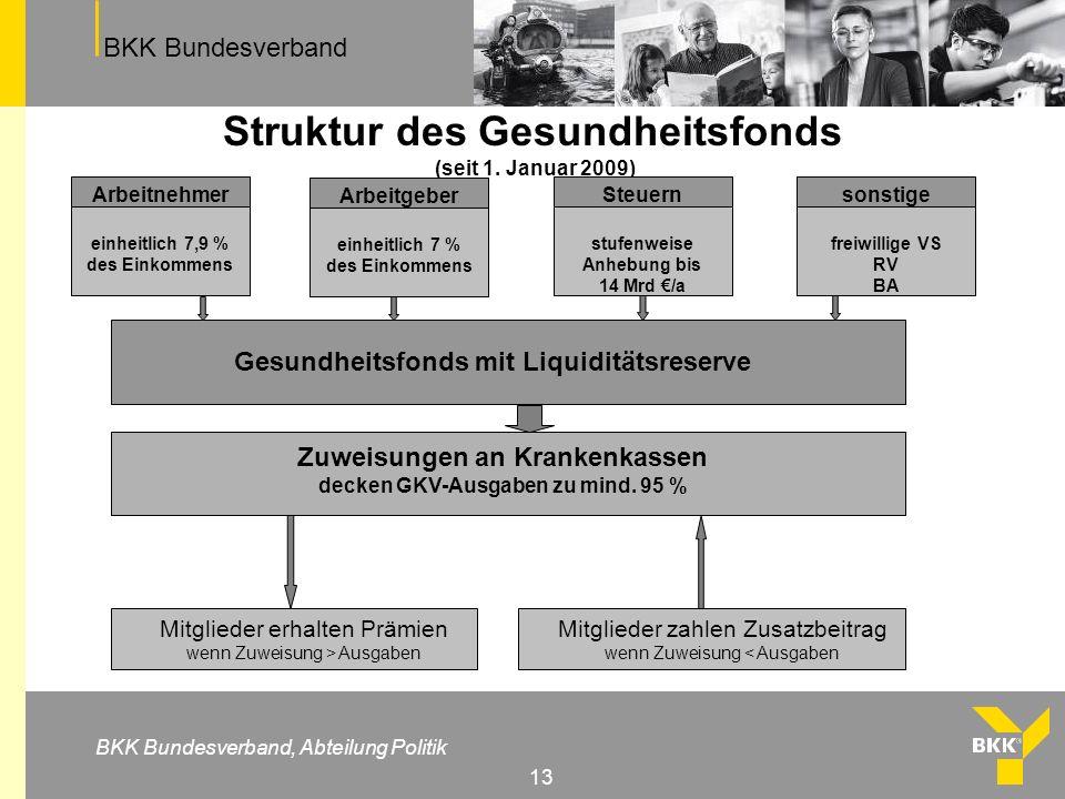 Struktur des Gesundheitsfonds (seit 1. Januar 2009)