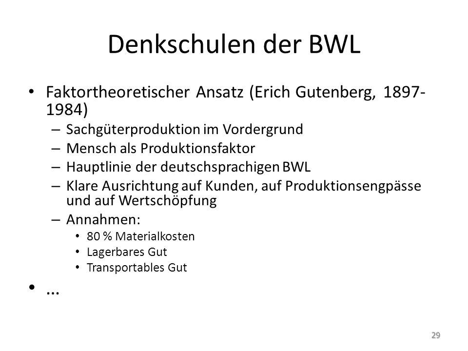 Denkschulen der BWL Faktortheoretischer Ansatz (Erich Gutenberg, 1897-1984) Sachgüterproduktion im Vordergrund.