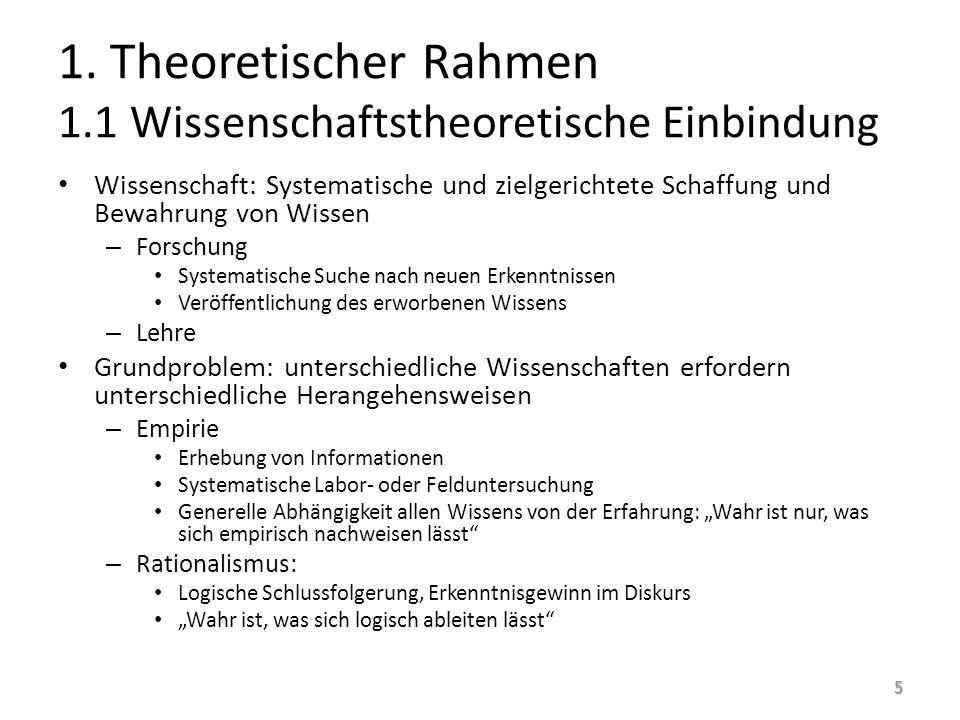 1. Theoretischer Rahmen 1.1 Wissenschaftstheoretische Einbindung