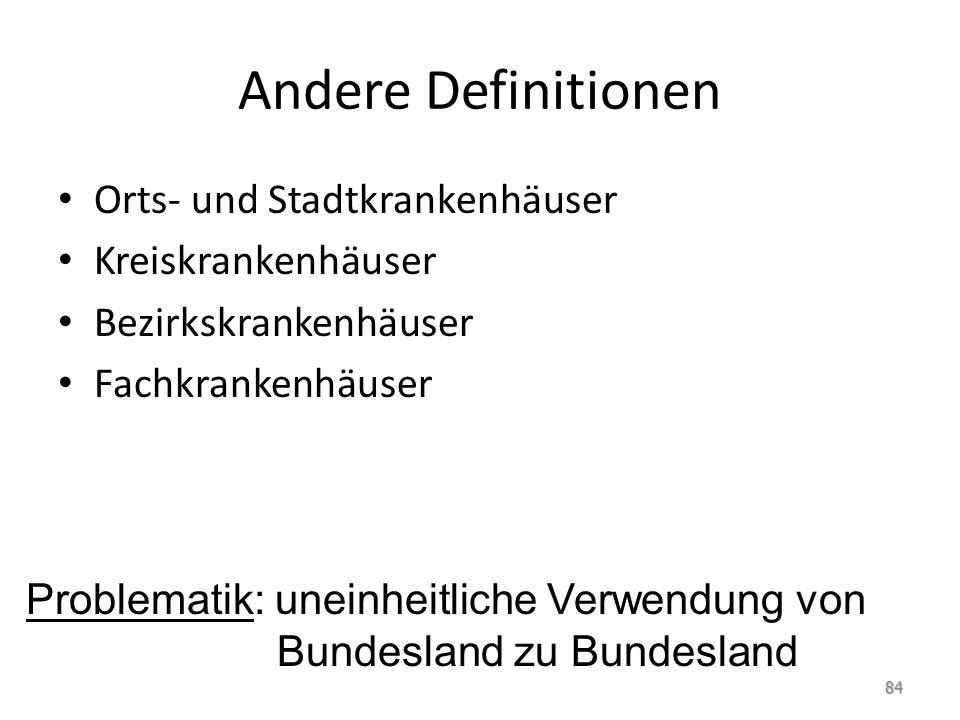 Andere Definitionen Orts- und Stadtkrankenhäuser Kreiskrankenhäuser