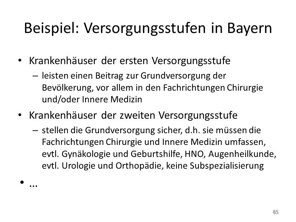 Beispiel: Versorgungsstufen in Bayern
