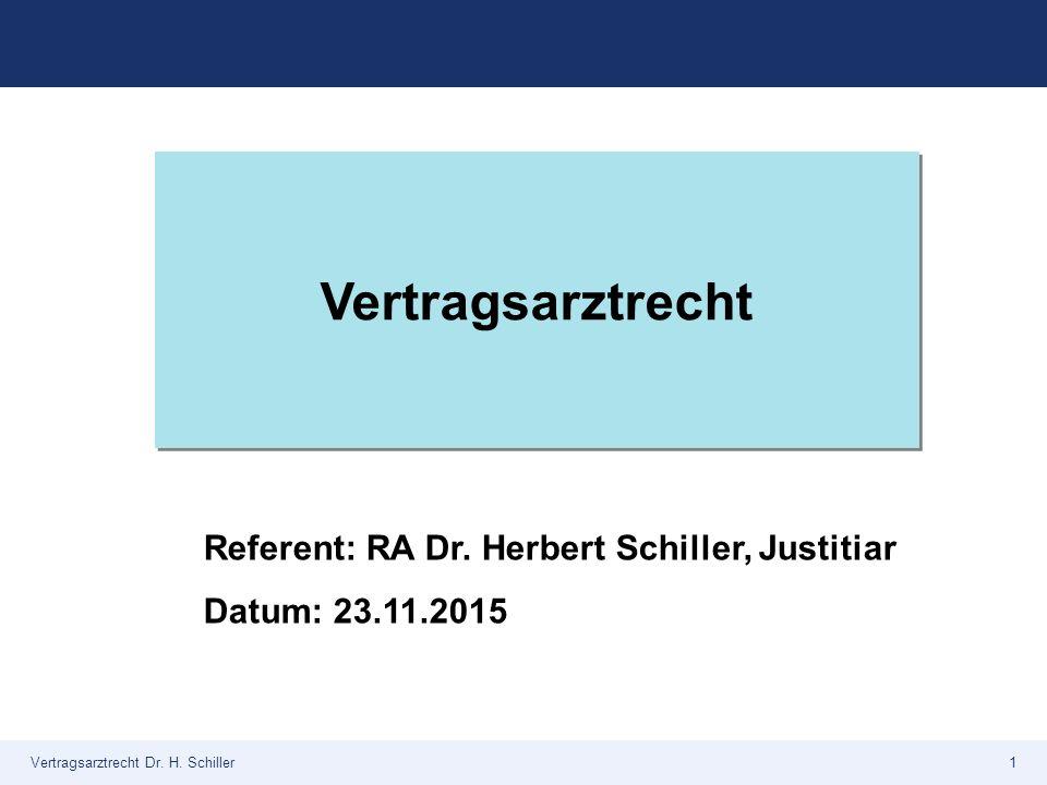 Vertragsarztrecht Referent: RA Dr. Herbert Schiller, Justitiar